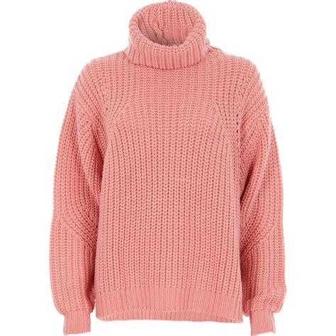 roll neck rib river island pink chunky rib knit roll neck jumper knitwear sale