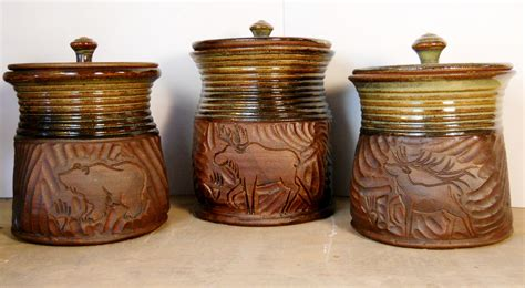 Brown Canister Sets Kitchen by New Bronze And Brown Canister Set Jenny Gulch Pottery Amp Art