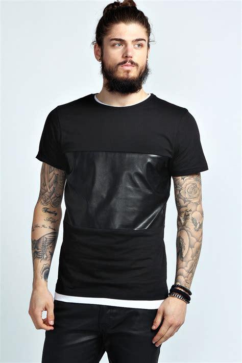 Mens Planel Shirt L S Contempo pu panel t shirt blank custom designs tshirt high fashion