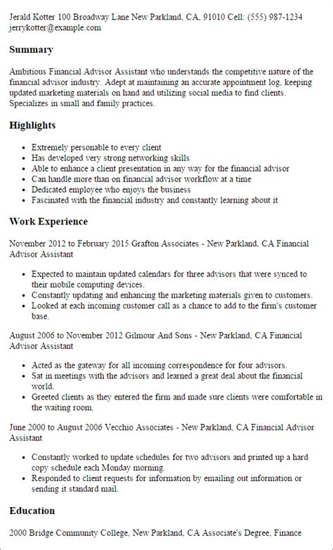 Financial Advisor Resume Sles by Professional Financial Advisor Assistant Templates To Showcase Your Talent Myperfectresume