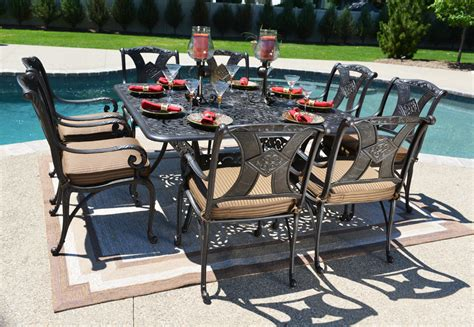 8 Person Patio Table Amalia 8 Person Luxury Cast Aluminum Patio Furniture Dining Set W 60 Quot Square Table