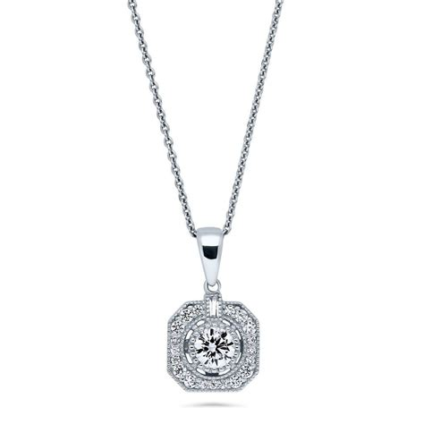 berricle sterling silver cz deco pendant necklace ebay