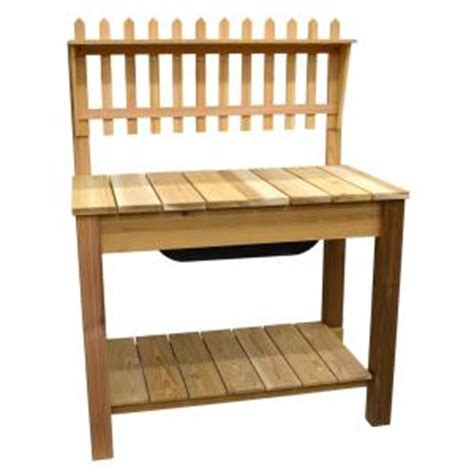 potting benches home depot 44 75 in x 61 5 in natural cedar potting bench with