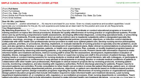 clinical specialist cover letter clinical specialist cover letter sle template