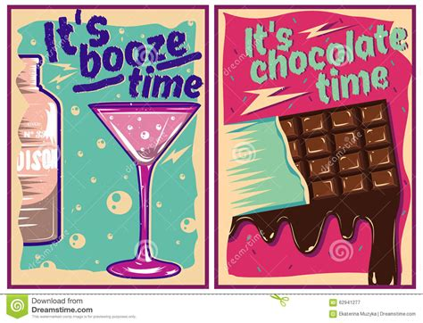 vintage cocktail posters chocolate and cocktail posters in vintage style stock