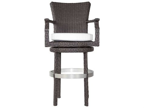 wicker bar stools with arms patio heaven signature wicker swivel round barstool with