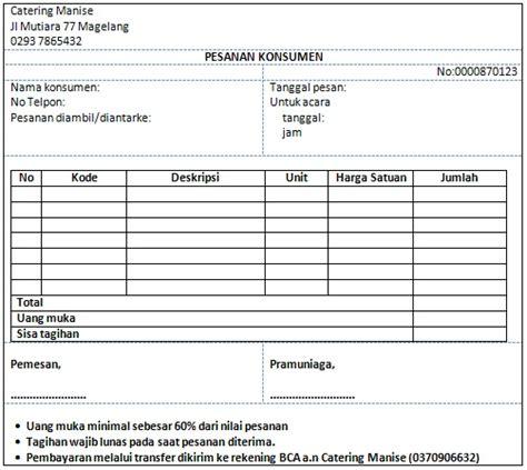 sistem informasi akuntansi surat order penjualan kasus jasa catering