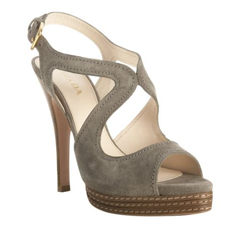 prada grey suede platform slingback sandals in gray grey