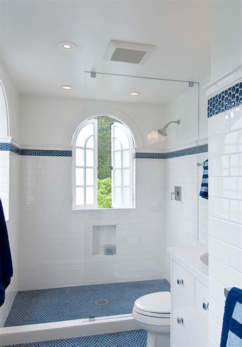 blue and white bathrooms blue subway tile shower design ideas