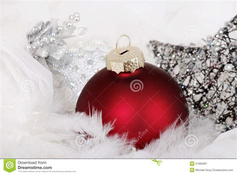 red and silver christmas ornaments stock image image