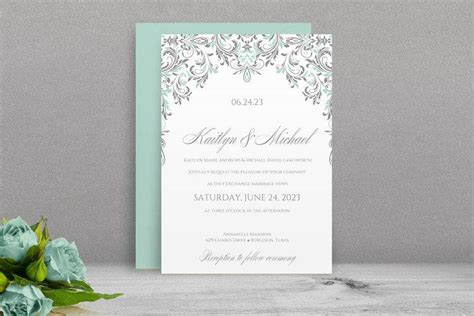 mint wedding invitation printable printable wedding invitation template download instantly
