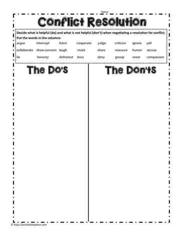 all worksheets 187 conflict resolution worksheets