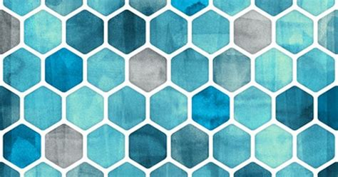 Fig 040 Hexagon Shapes Print Other Colorful - blue ink watercolor hexagon pattern hexagons hexagon