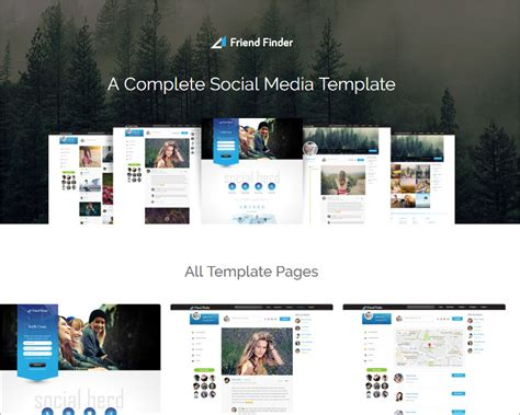 social media website templates free premium themes