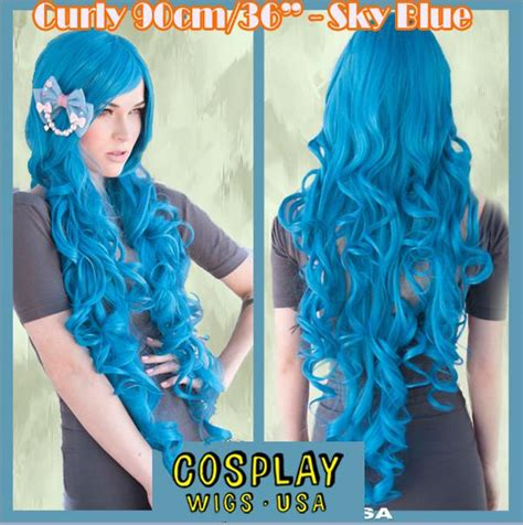 Pre Order Wig Linen Yellow Curly W58342 1 wigs usa curly 90cm 36 quot sky blue dolluxe 174