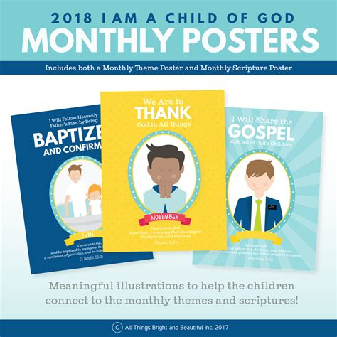 themes in god help the child 2018 lds primary theme monthly posters i am a child of