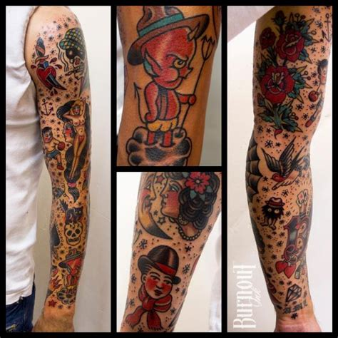 Old School Tattoo Arm Sleeve | arm old school sleeve tattoo by burnout ink