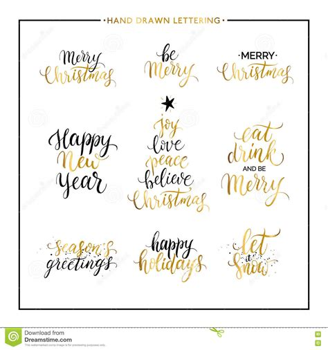 christmas  happy  year gold quotes stock vector illustration  gold happy