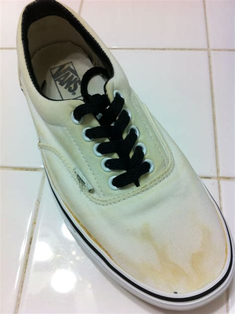 how to get rid of yellow stain on white shoes style guru