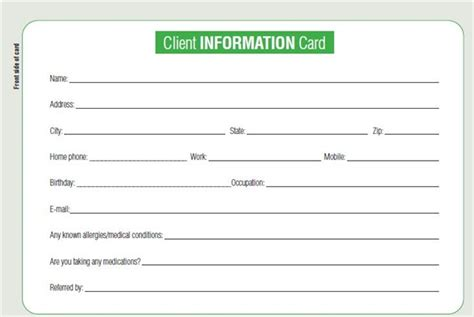 28 info card template doc 790553 personal contact