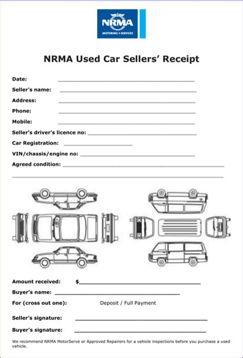 car sale receipt template templates forms