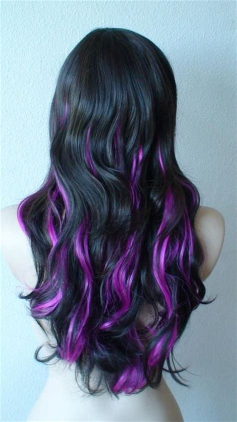 cute neon highlights purple highlights for summer black hair purple