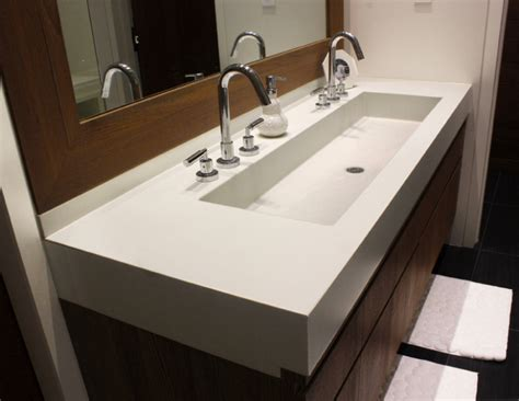 trough sinks with two faucets fanciful bathroom vanity one