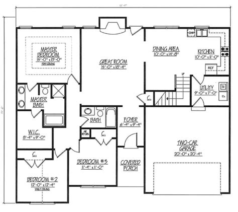 2000 square foot ranch floor plans house plan 54440 at familyhomeplans com