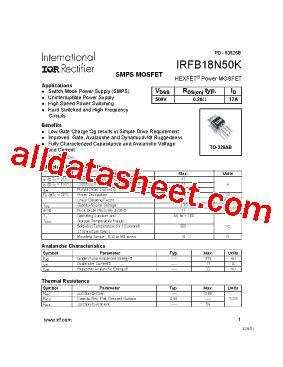 transistor mosfet 18n50 irfb18n50k データシート pdf international rectifier