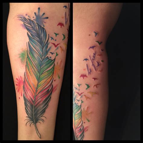gay tattoos http www oksanaweber rainbow pride feather with
