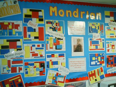 kids art display ideas for an artcompetition fundraising mondrian classroom display photo sparklebox