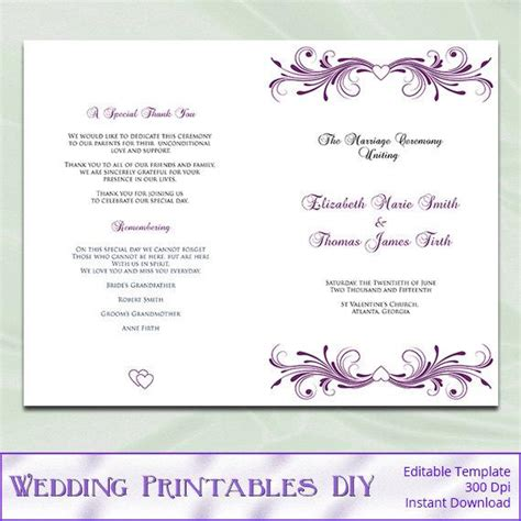 Items Similar To Wedding Program Template Diy Printable Plum Purple Heart Ceremony Half Fold Do It Yourself Wedding Programs Templates Free