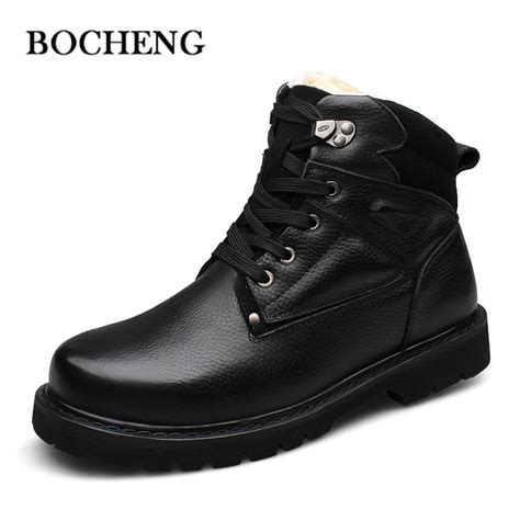Genuine Leather Lace Up Snow Boots new style 2015 winter genuine leather snow boots add