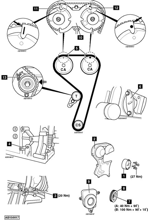 Replace timing belt Ford Focus 1.6 Ti-VCT 2011