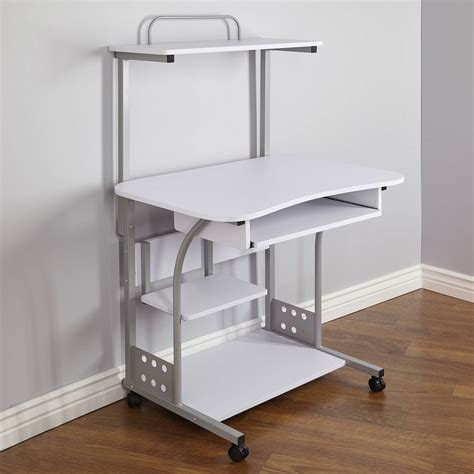 computer desk on wheels with top shelf computer desk mobile computer tower with shelf keyb tray