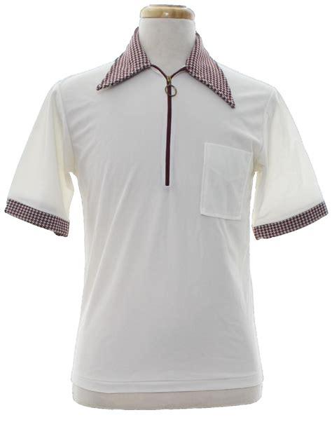 pattern golf shirt vintage 1970 s shirt 70s no label menswhite polyester