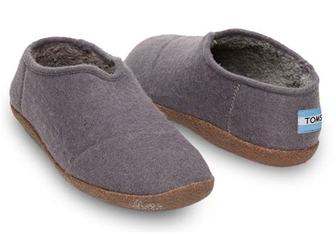 men s house shoes toms charcoal wool men s slippers in gray for men lyst