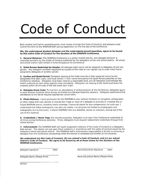 Code Of Conduct Template image model un position paper sle pc android