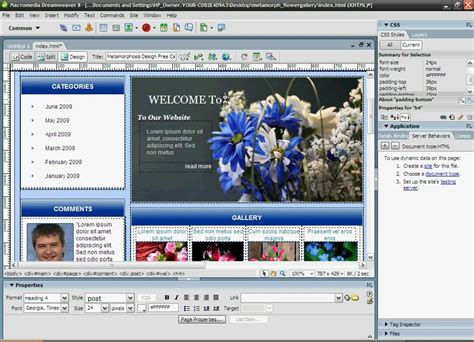 youtube tutorial dreamweaver 8 how to download and edit a template with dreamweaver 8 or
