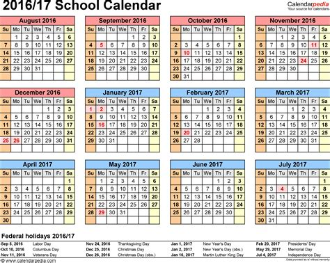 American Academic Calendar School Calendars 2016 2017 As Free Printable Word Templates