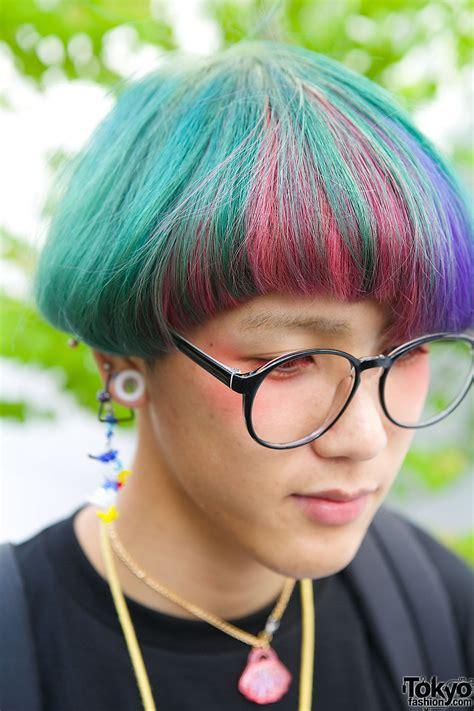 harajuku guy  rainbow hair glasses gameboy cute
