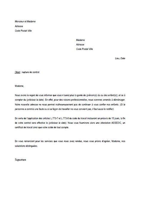 Exemple De Lettre Pour Une Rupture Conventionnelle Modele Lettre Licenciement Nounou Faute Grave