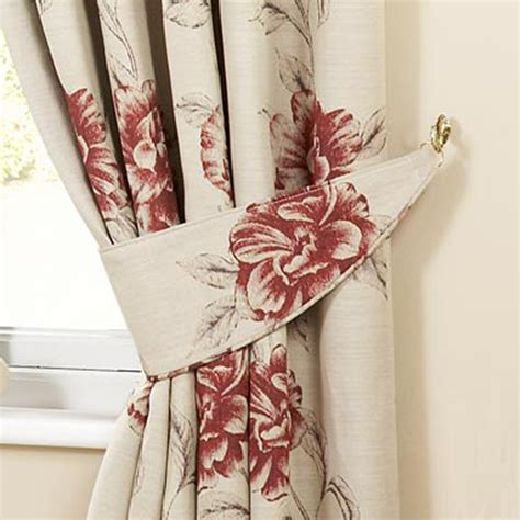 red floral drapes luxury cotswold floral jacquard curtain tiebacks pair red