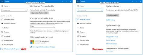 windows 10 insider tutorial add or remove windows insider program settings page in