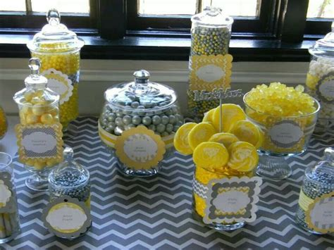 Yellow And Gray Candy Buffet Candy Buffet Pinterest Yellow Buffet