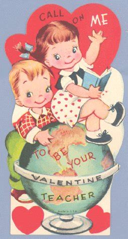 valentines card greetings for teachers vintage card call on me globe