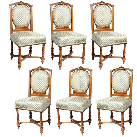 Edwardian Dining Chairs For Sale Set Of Six Edwardian Dining Side Chairs With Green Upholstery Fabric For Sale At 1stdibs