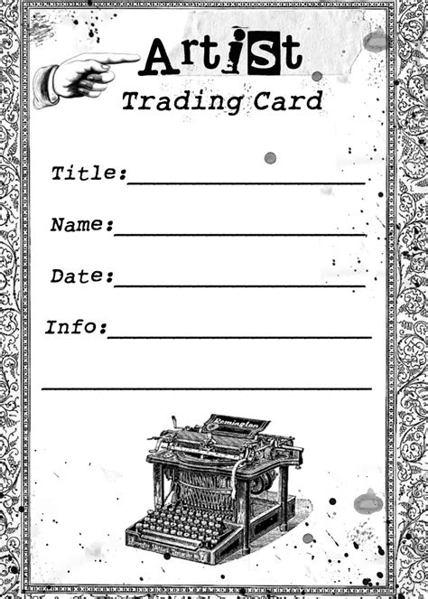 Artist Trading Cards Back Template by Free Vintage Digital Sts Free Vintage Digital