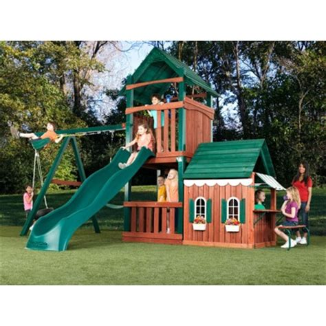 playhouse with swing set swing n slide summer fun swing set with playhouse and