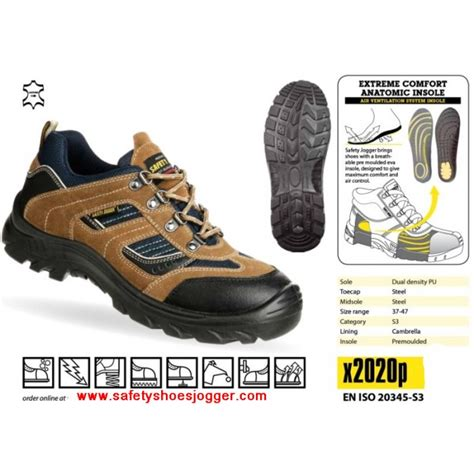 Jogger X2020 by Safety Jogger X2020 Safety Shoe Brown Black Low Cut
